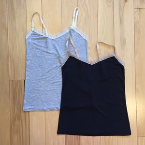Two BCBGeneration lace and modal camis, size small
